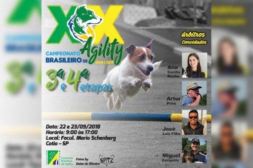 3ª e 4ª Etapas – XX Campeonato Brasileiro de Agility – 22 e 23/09/2018