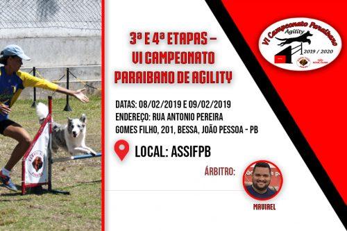 3ª e 4ª Etapas – VI Campeonato Paraibano de Agility – 08 e 09/02/2020