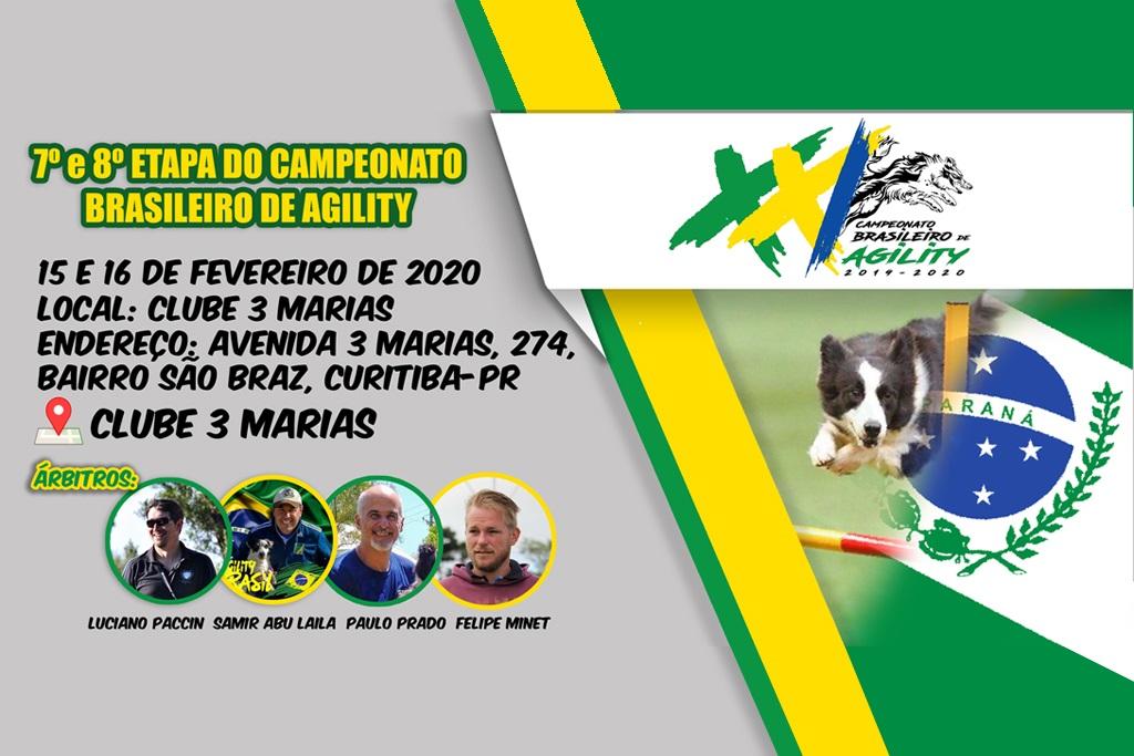 7ª e 8ª Etapas – XXI Campeonato Brasileiro de Agility – 15 e 16/02/2020